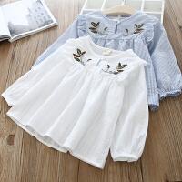 童装女童衬衫女宝刺绣条纹T恤小孩长袖衬衫
