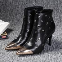 马丁靴女加绒冬真皮高跟女鞋金属头镂空透气女士细跟牛皮靴子批发