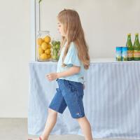 DAVE&BELLA童装正品 飞袖蓝色短袖女孩上衣大中儿童T恤衫DKH13240
