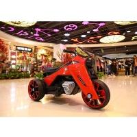 儿童电动车摩托车三轮车1-5岁充电可坐人大号男女孩玩具宝宝童车 红色 双驱 早教 大电瓶