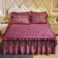 公主风蕾丝床罩 欧式天鹅绒床裙单件秋冬加厚保暖绒床罩床垫套纯色蕾丝边1.8m定制
