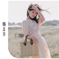 很仙的连衣裙小个子女夏季2019新款棉立方纯棉仙女超仙森系裙子素