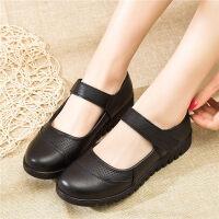 妈妈鞋软底单鞋舒适平底滑中老年女鞋中年皮鞋老人奶奶鞋