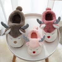 【1件3折】泰蜜熊冬季棉拖鞋女卡通居家防滑包跟棉鞋一家三口毛毛月子鞋毛绒男