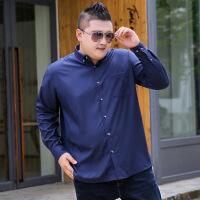 胖子大码男士长袖衬衫加肥加大肥胖中年肥佬超大号休闲爸爸