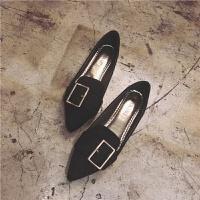 单鞋女2019春季新款韩版尖头平底鞋温柔大码女鞋豆豆鞋鞋