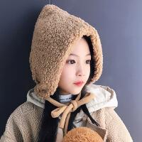 秋冬季儿童保暖加绒雷锋帽男女宝宝滑雪毛绒护耳帽子大童防风盆帽