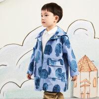 【2件3折价:209.7元】马拉丁童装男大童外套春装2020年新款图案中长款休闲风衣外套