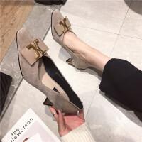 2019春季新款时尚气质百搭高跟鞋绒面浅口尖头粗跟单鞋职业女鞋