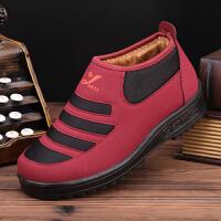 冬季老北京布鞋女鞋高帮保暖棉鞋老年人鞋子厚底中老人妈妈鞋 红色 35