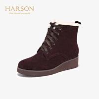 【 限时4折】哈森2019冬季新款羊反绒粗高跟方头短靴女 百搭弹力靴袜靴HA97119