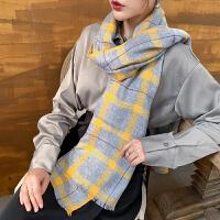 上海故事羊毛长款冬天英伦格子保暖围脖围巾女秋冬季韩版百搭披肩