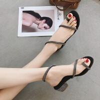 夏新款欧美时尚水钻缠绕绑带套趾平底鞋粗跟中跟露趾罗马凉鞋婚鞋