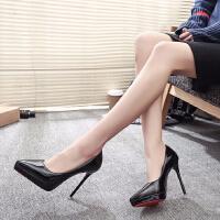 裸色高跟鞋细跟尖头鞋黑色性感防水台12cm超高跟鞋尖头浅口单鞋女