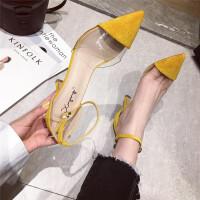 2019新款时尚女鞋韩版少女高跟鞋女细跟性感透明一字扣小清新单鞋