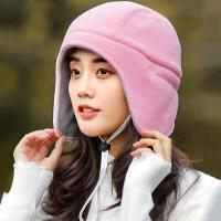 帽子女秋冬季户外保暖套头帽双面戴加厚骑车防风护耳帽抓绒包头帽