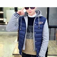 青少年棉衣男棉袄韩版修身男士加厚外套假两件棉服潮