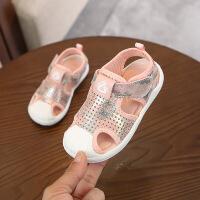 夏季男女童贝壳头炫彩凉鞋透气软底儿童凉鞋