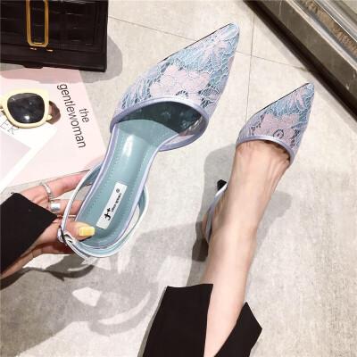 细跟高跟鞋2019春季新款女鞋尖头浅口后绊带蕾丝甜美可爱淑女单鞋