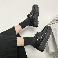 英伦风女鞋复古原宿漆皮小皮鞋女百搭圆头系带单鞋学生厚底松糕鞋 黑色