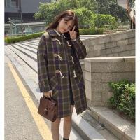2019新款秋冬季韩版学生牛角扣格子原宿毛呢外套女中长款茧型妮子大衣