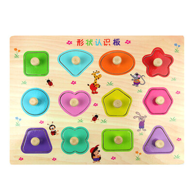 儿童数字母手抓板嵌板木质 1-2-3岁宝宝拼图板认知早教益智力玩具