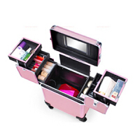 拉杆纹绣化妆箱多层手提大容量跟妆美甲美容便捷工具箱锁万向轮铝