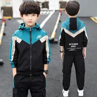 儿童套装 男孩加绒加厚连帽外套长裤子2020韩版秋冬款儿童中大童时尚运动两件套