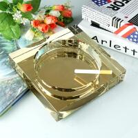 方形黑金水晶烟灰缸创意个性大号卧室酒店办公室玻璃烟缸