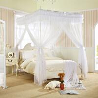 蚊帐白色落地式方顶三开门欧式公主宫廷蚊帐床幔不锈钢