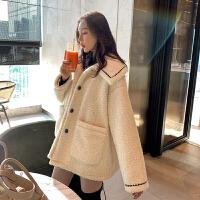 安妮纯网红羊羔毛绒外套女秋冬装2020新款宽松百搭加厚小香风大衣ins潮