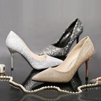 单鞋女银色高跟鞋闪粉尖头细跟香槟金年会宴会黑色晚礼服新娘婚鞋 银色 7cm
