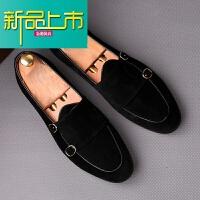 新品上市男士休闲皮鞋英伦套脚懒人鞋型师内增高豆豆鞋韩版反绒皮鞋