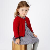 [2件3折价:86.1]davebella戴维贝拉童装春新款女童针织衫 宝宝毛衣开衫DB11769-1