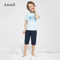 【2件4折价:87.6】安奈儿男童夏季睡衣套装夏季t恤短裤两件套薄款洋气2021新款童装