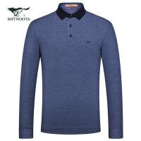 七匹狼长袖T恤 19春季男士青年时尚商务休闲纯色翻领长袖T恤