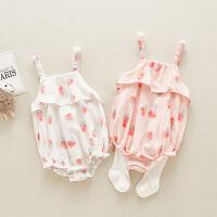 女婴儿洋气三角哈衣夏天衣服夏装连体衣新生宝宝外出抱衣夏季