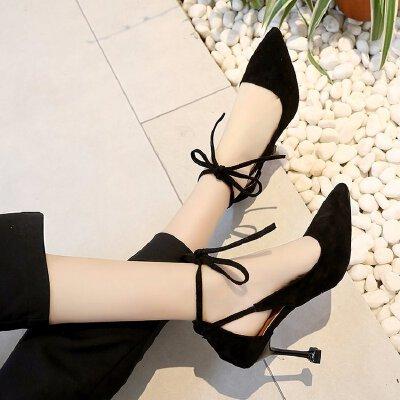 猫跟高跟鞋女9cm韩版性感一字扣小码34尖头工作职业单根细跟公主