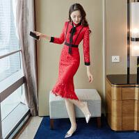 新年特惠红色连衣裙秋冬2019新款女装修身中长款法式复古裙打底蕾丝鱼尾裙 红色