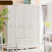 储物柜卧室组合家具衣柜白色 四门带抽衣柜实木整体大衣橱 8B26 四门衣柜 4门