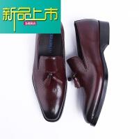 新品上市潮味雕花男鞋 英伦套脚牛津欧版皮鞋 真皮尖头复古皮鞋男士