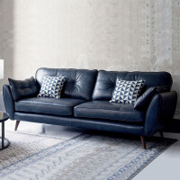 欧式简易沙发 简欧风格办公沙发小户型客厅整装单双人三人位现代简约皮沙发组合 蓝色四人 226*91*88cm 其他