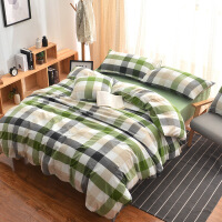 全棉简约水洗棉四件套格子素色被套床笠床上用品学生