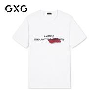 GXG男装 夏季男士时尚韩版气质休闲潮流胸前字母白色短袖T恤男
