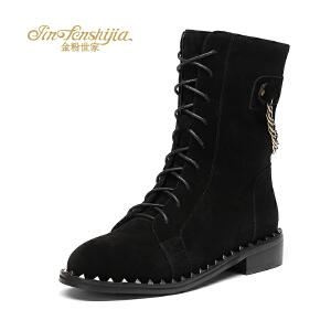 红蜻蜓旗下品牌金粉世家女鞋秋冬休闲鞋鞋子女女靴子短靴JGC1407