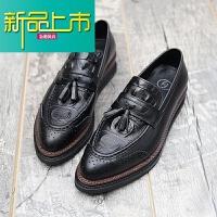 新品上市型师尖头雕花潮鞋厚底低帮休闲真皮英伦套脚增高男鞋松糕鞋