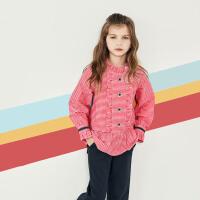 davebella戴维贝拉kids女童衬衫春装新款中大童格子衬衣DBK12264
