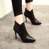 高跟鞋细跟时装靴马丁靴2018秋冬新款尖头短靴后拉链百搭女靴