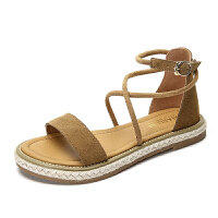 一字带凉鞋女夏季平底新款夏天女鞋子韩版学生罗马鞋