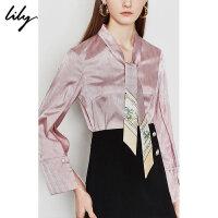 Lily2019夏新款女装复古光泽粉韩版洋气系飘带宽松套头雪纺衫8927